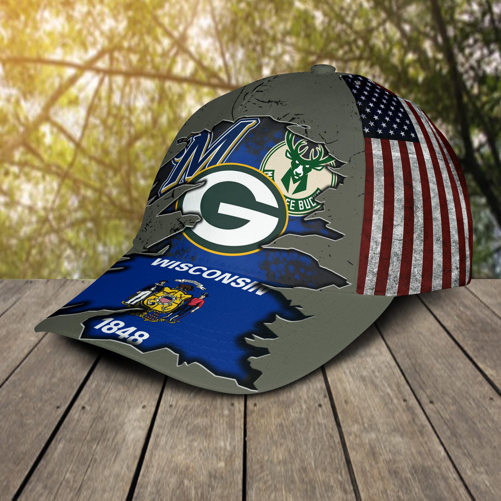 Green Bay Packers Milwaukee Brewers Milwaukee Bucks Wiscosin 1848 Cap 2