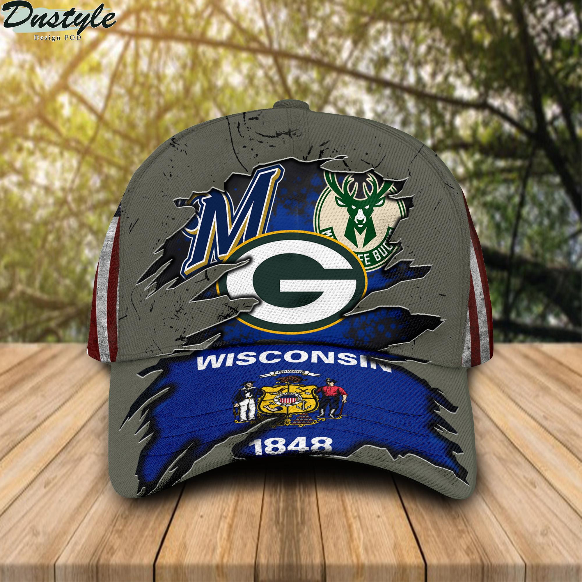 Green Bay Packers Milwaukee Brewers Milwaukee Bucks Wiscosin 1848 Cap