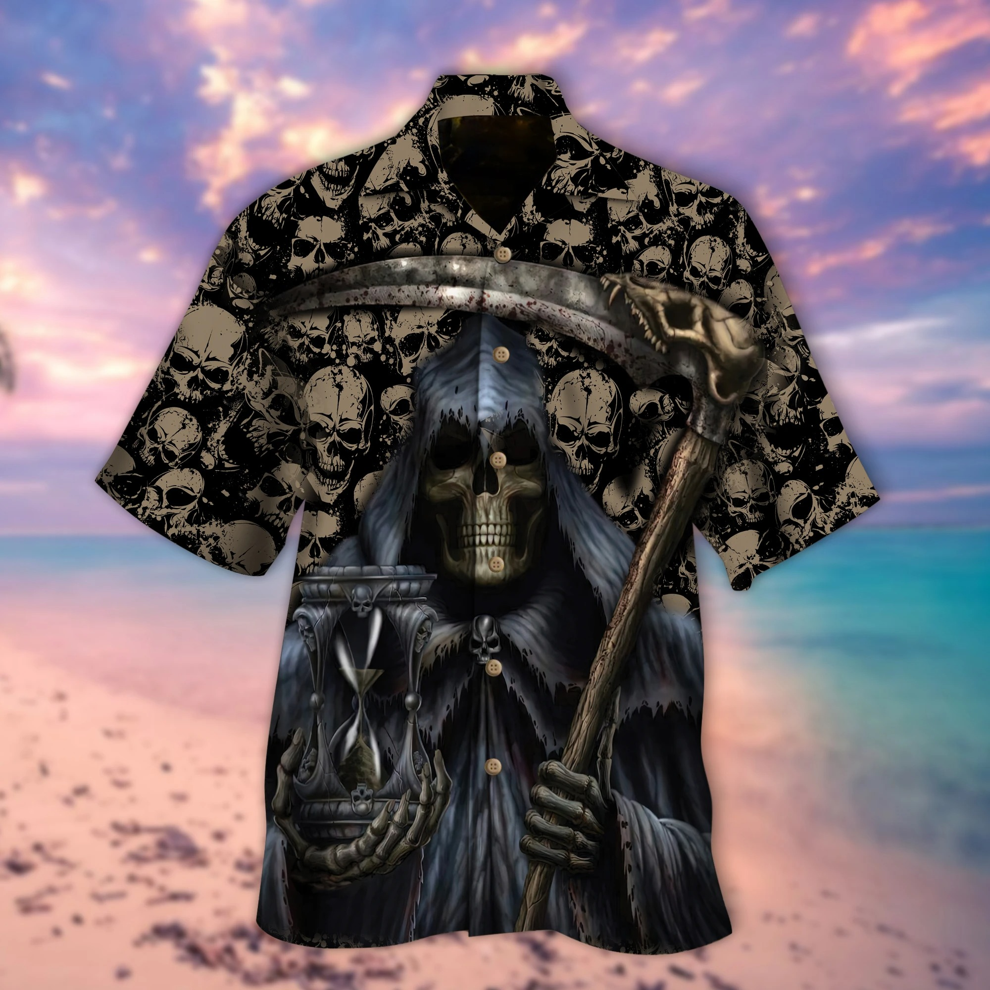 Grim Reaper holds time hawaiian shirt 1