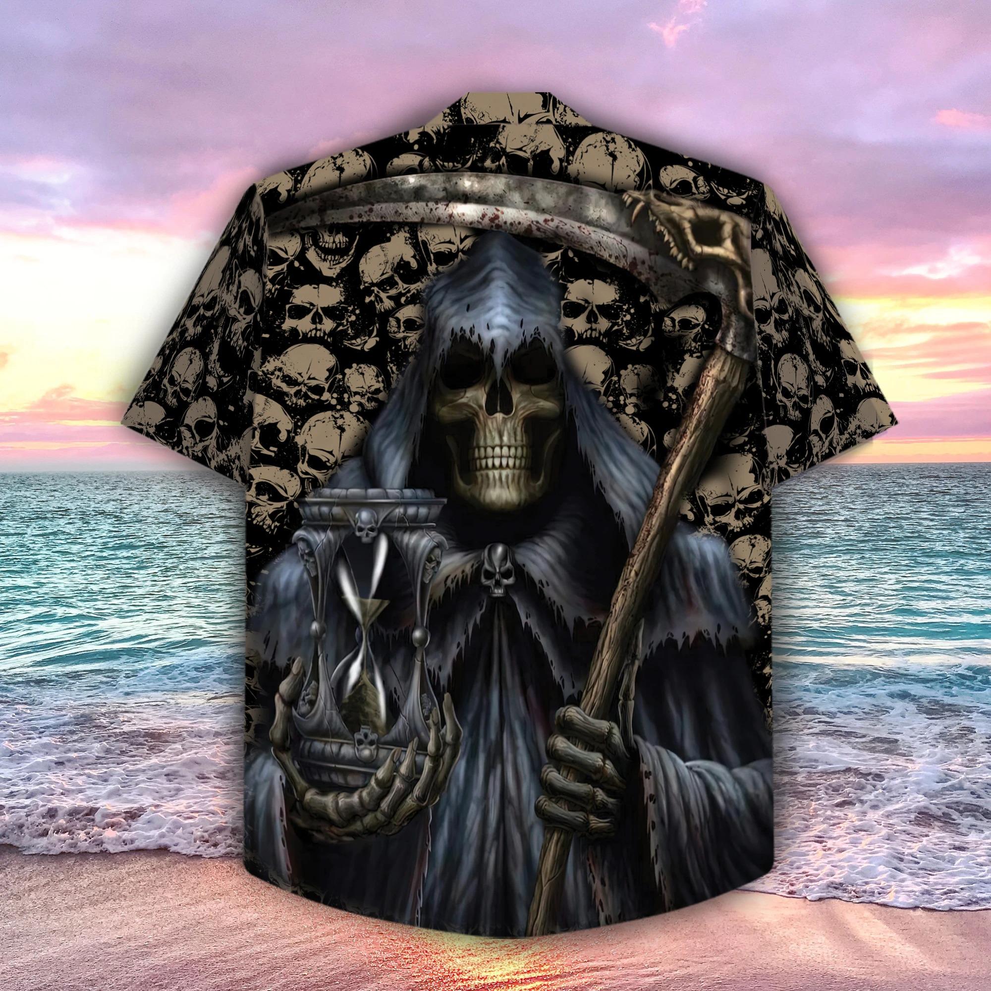 Grim Reaper holds time hawaiian shirt 2