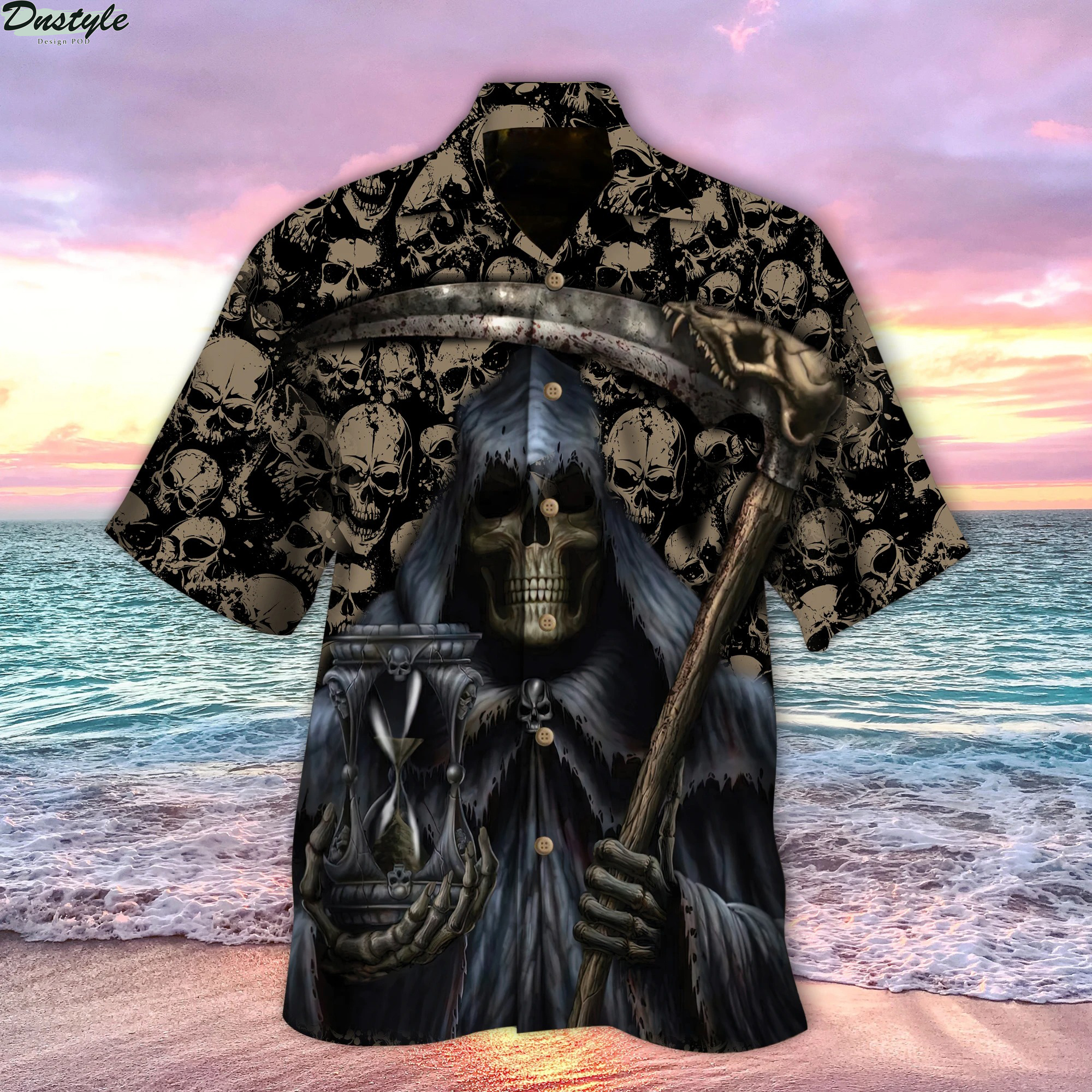 Grim Reaper holds time hawaiian shirt