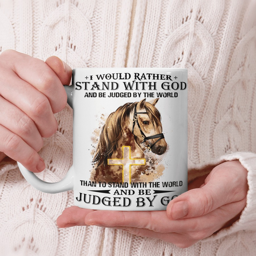 Horse I would rather stand with god mug 1