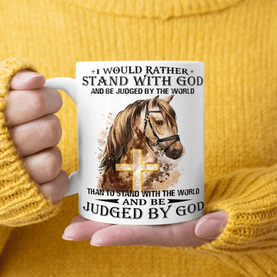 Horse I would rather stand with god mug 2