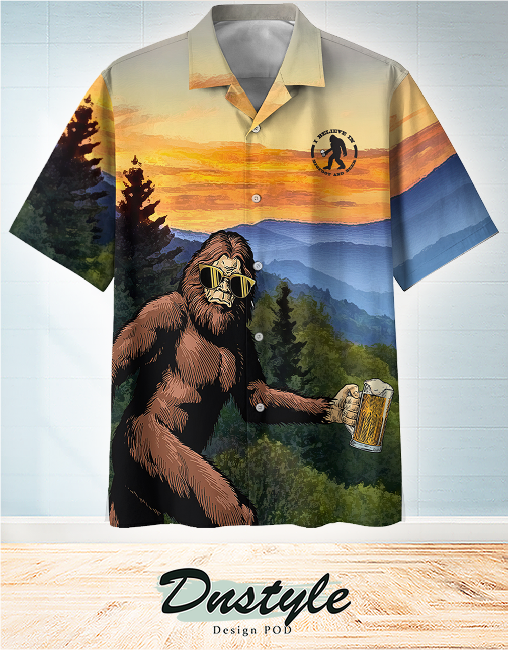 I believe in bigfoot and beer hawaiian shirt