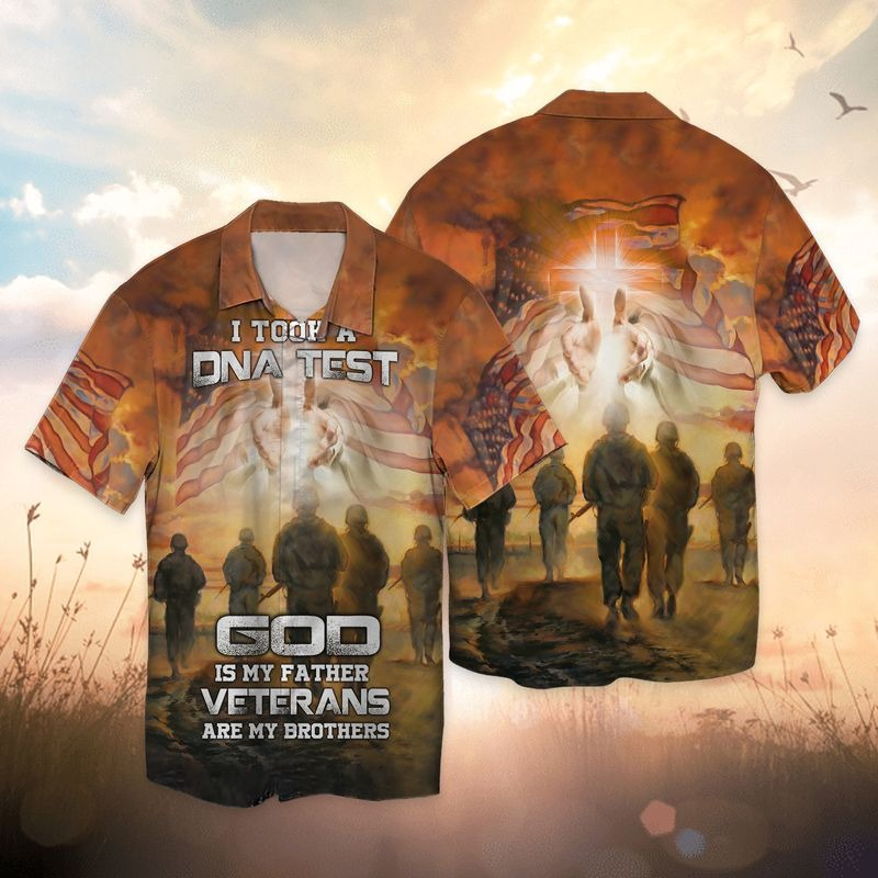 I took a DNA test god is my father veterans are my brothers 3d all over printed hawaiian shirt