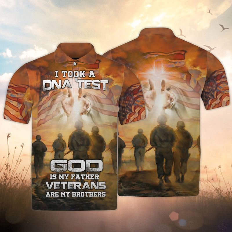 I took a DNA test god is my father veterans are my brothers 3d all over printed polo shirt