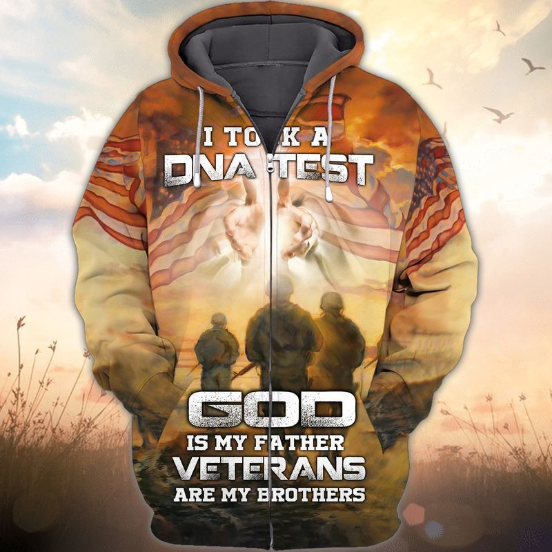 I took a DNA test god is my father veterans are my brothers 3d all over printed zip hoodie