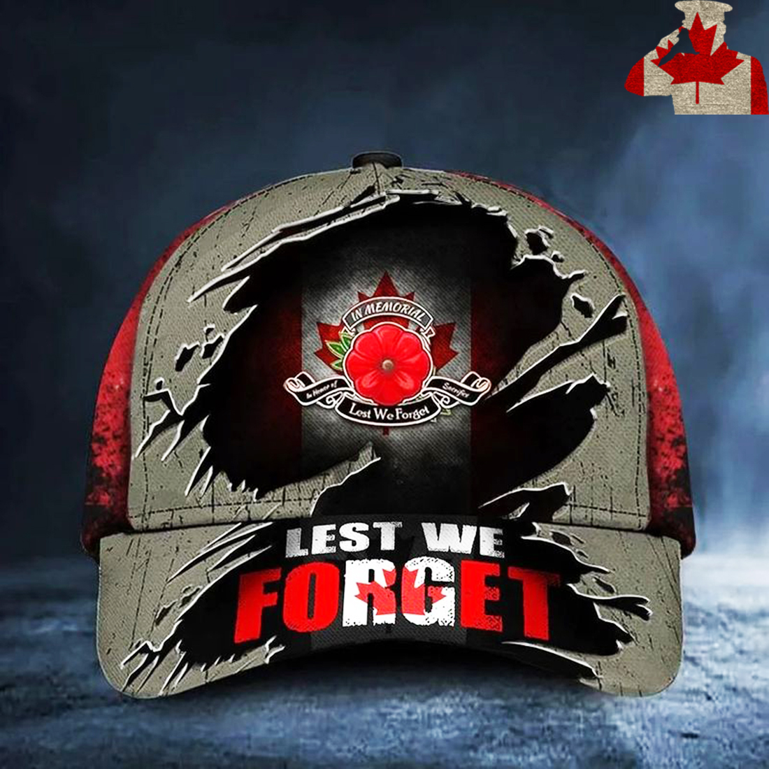 In memorial in honor of sacrifice Lest We Forget Poppy Canada Flag hat
