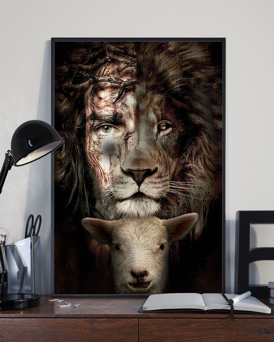 Jesus Lion And Lamb Poster Canvas 2