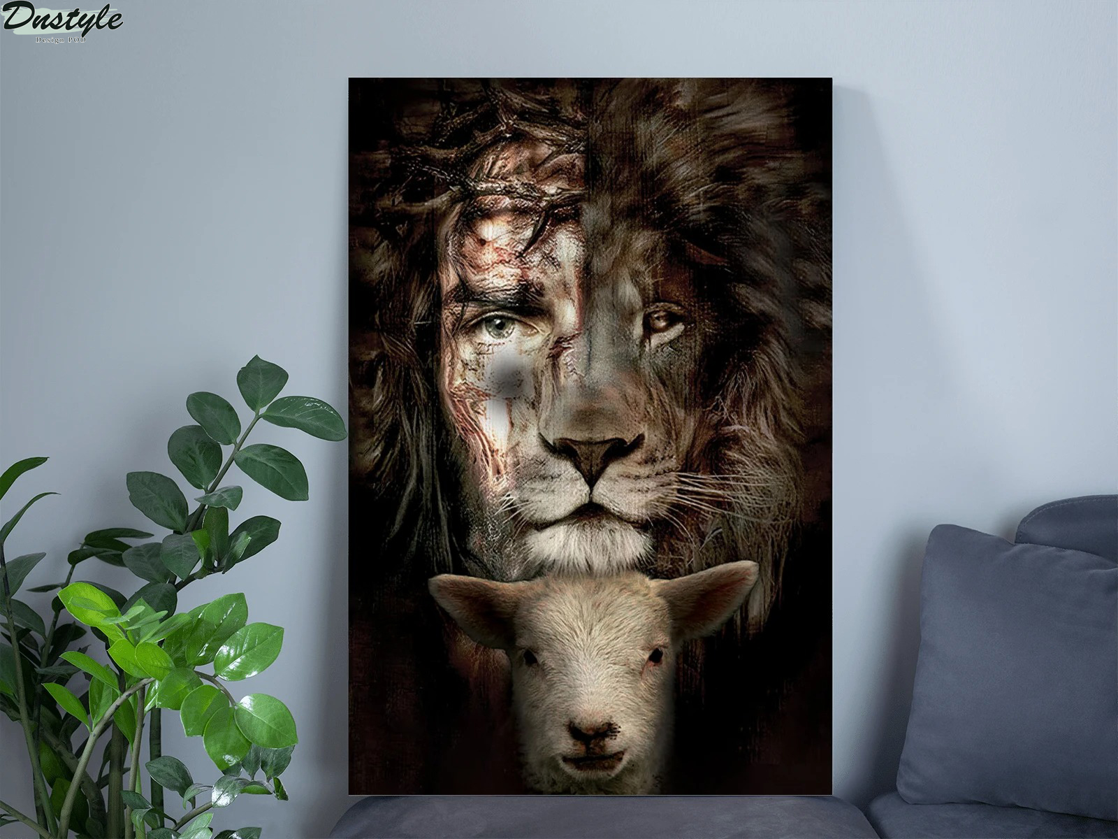 Jesus Lion And Lamb Poster Canvas