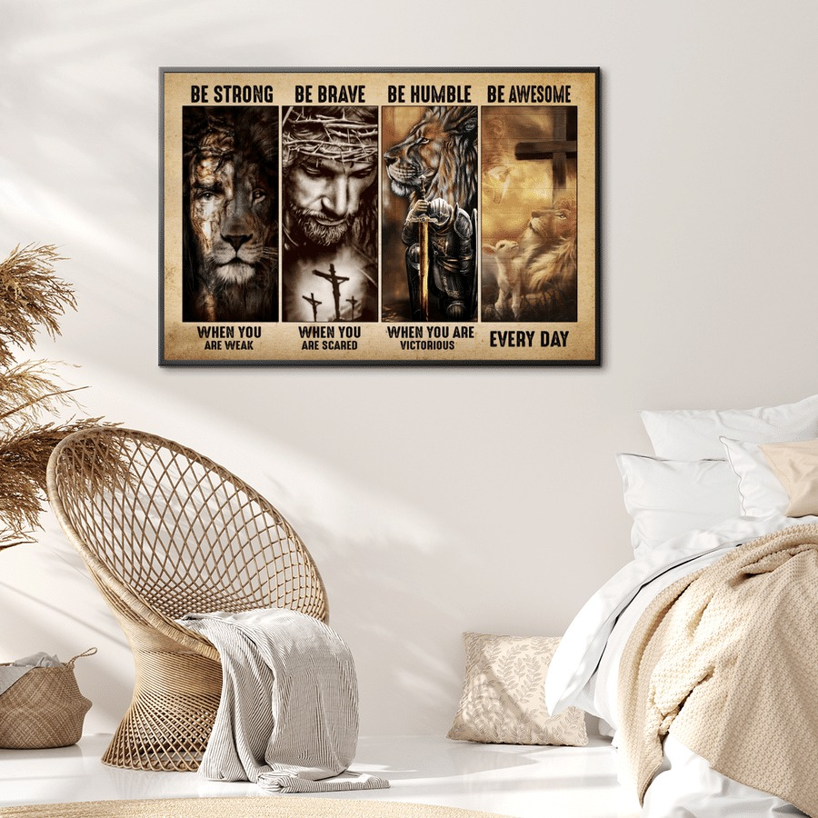 Jesus be strong be brave be humble be badass canvas poster 2