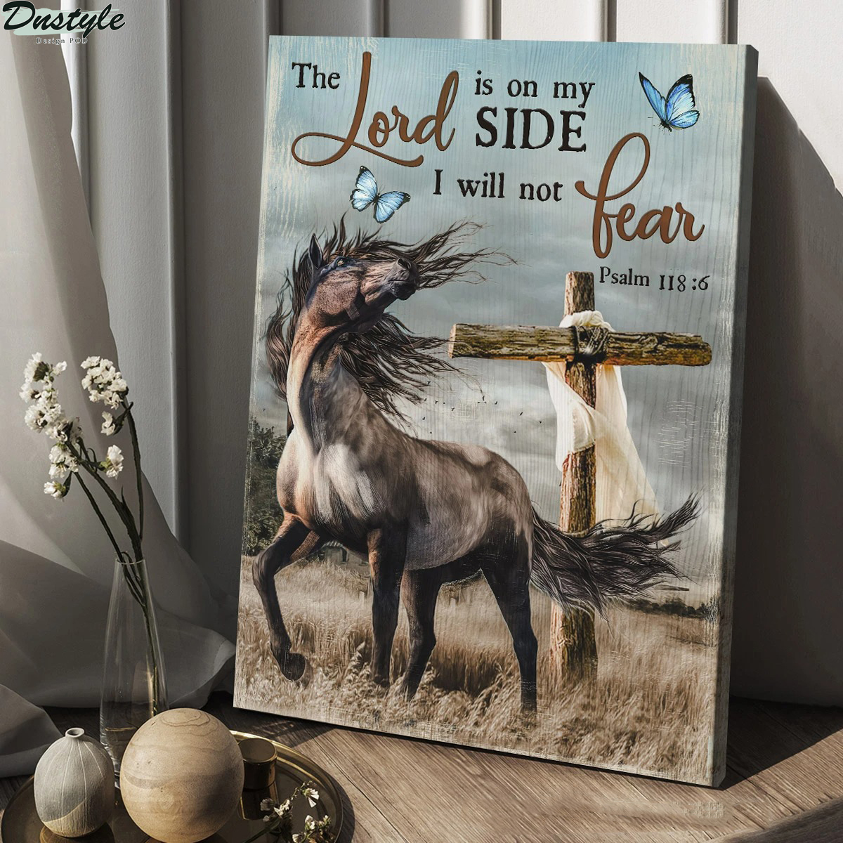 Jesus wild horse and wooden cross the lord is on my side I will not fear canvas