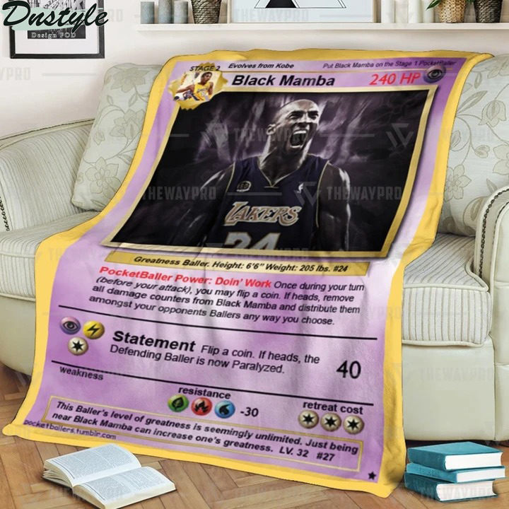 Kobe Bryant black mamba pokemon card blanket