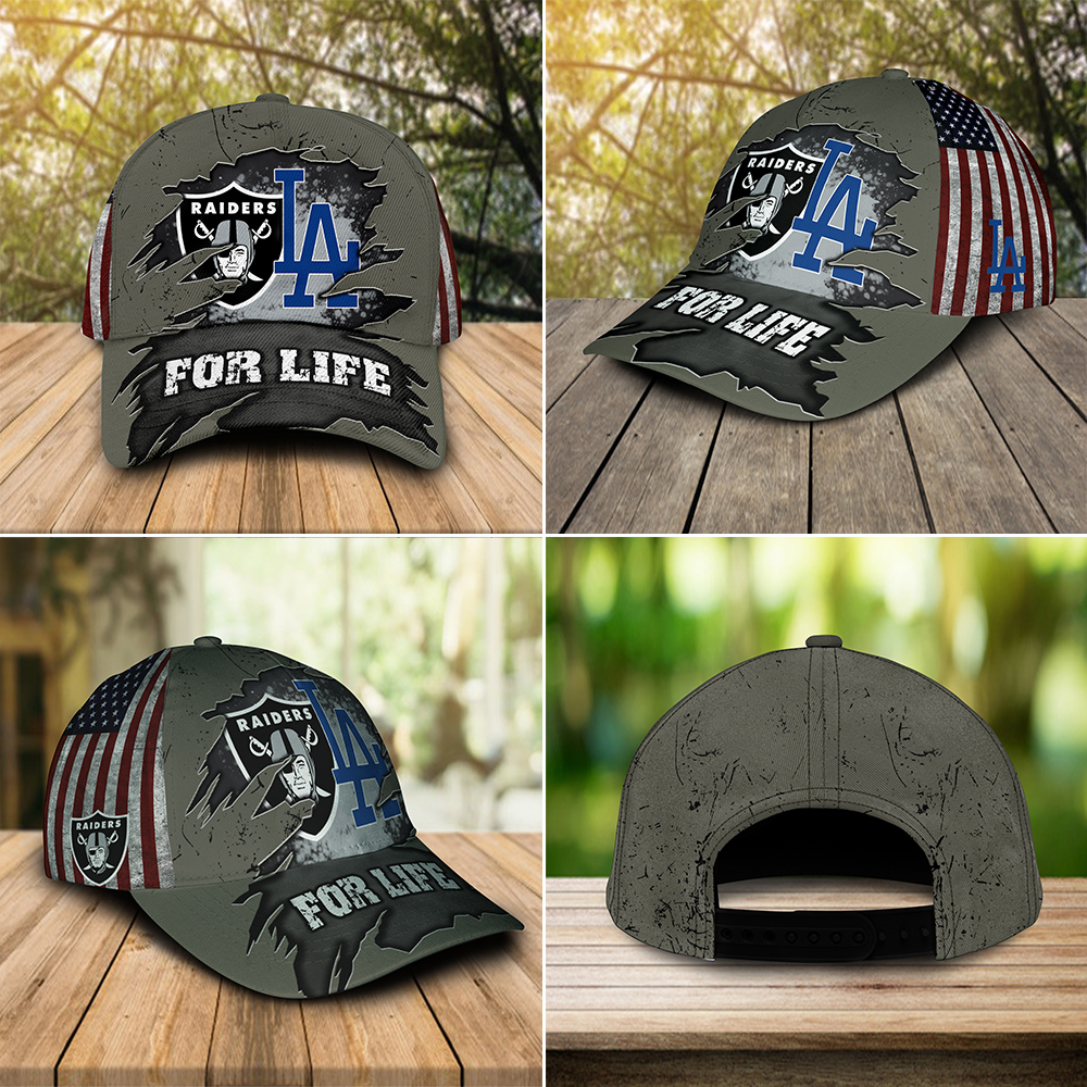 Las Vegas Raiders And Los Angeles Dodgers For Life Cap 1