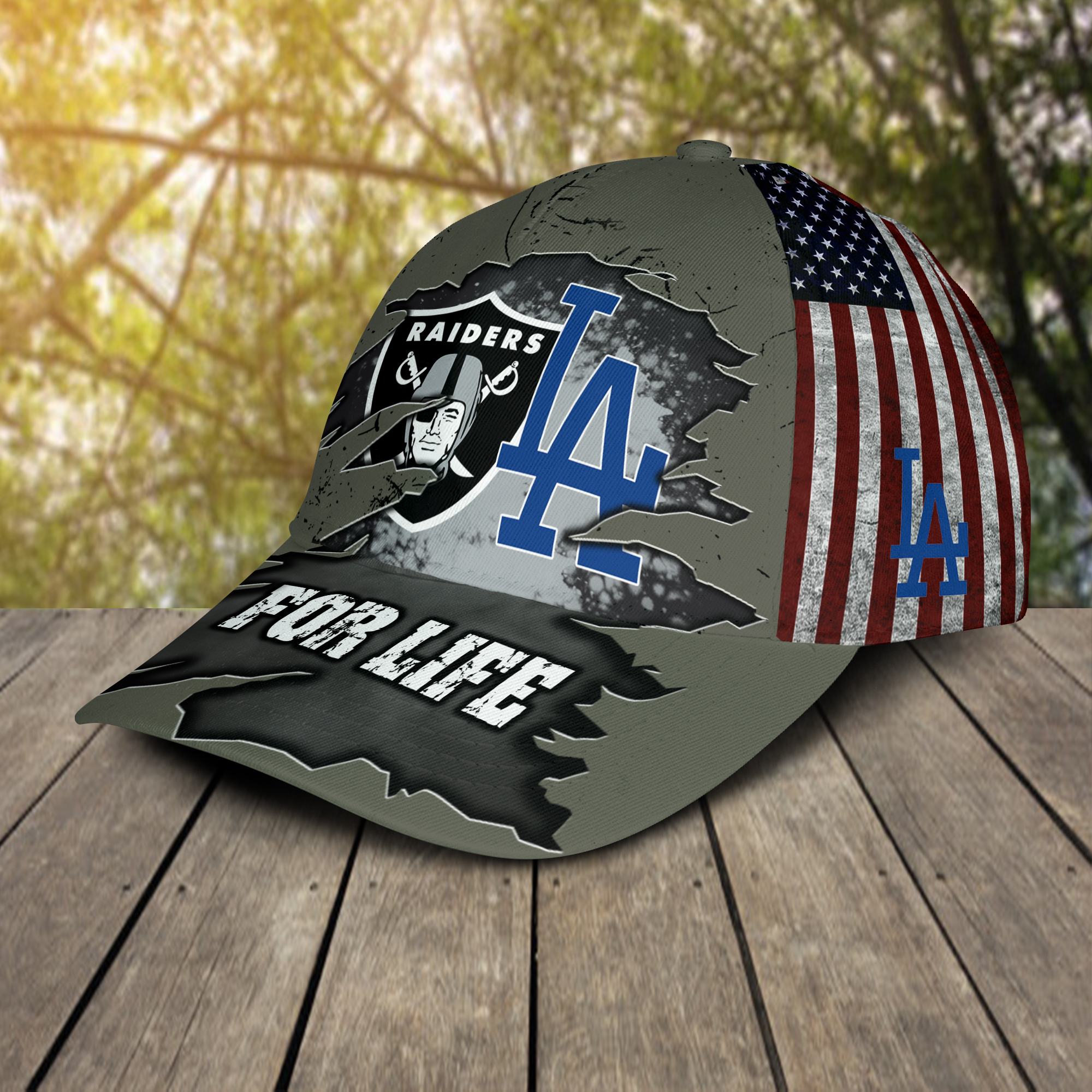 Las Vegas Raiders And Los Angeles Dodgers For Life Cap 3