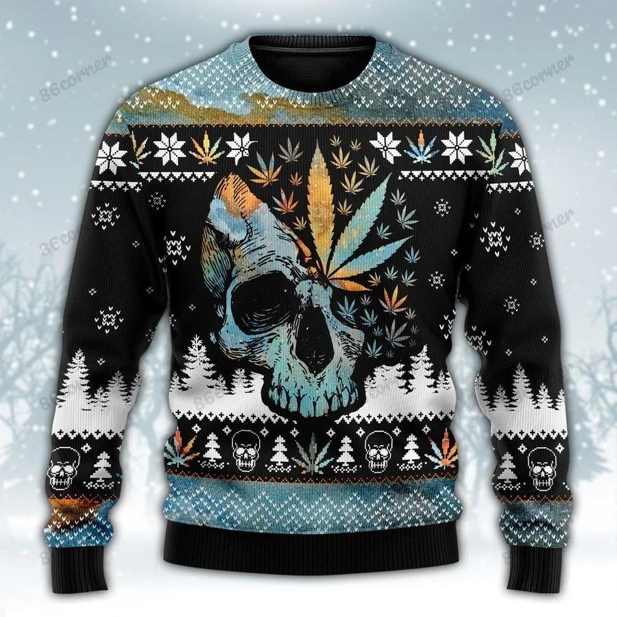 Leaf skull christmas cannabis ugly sweater 1