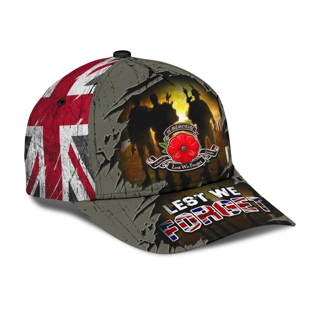 Lest We Forget Poppy Uk Flag Hat 1