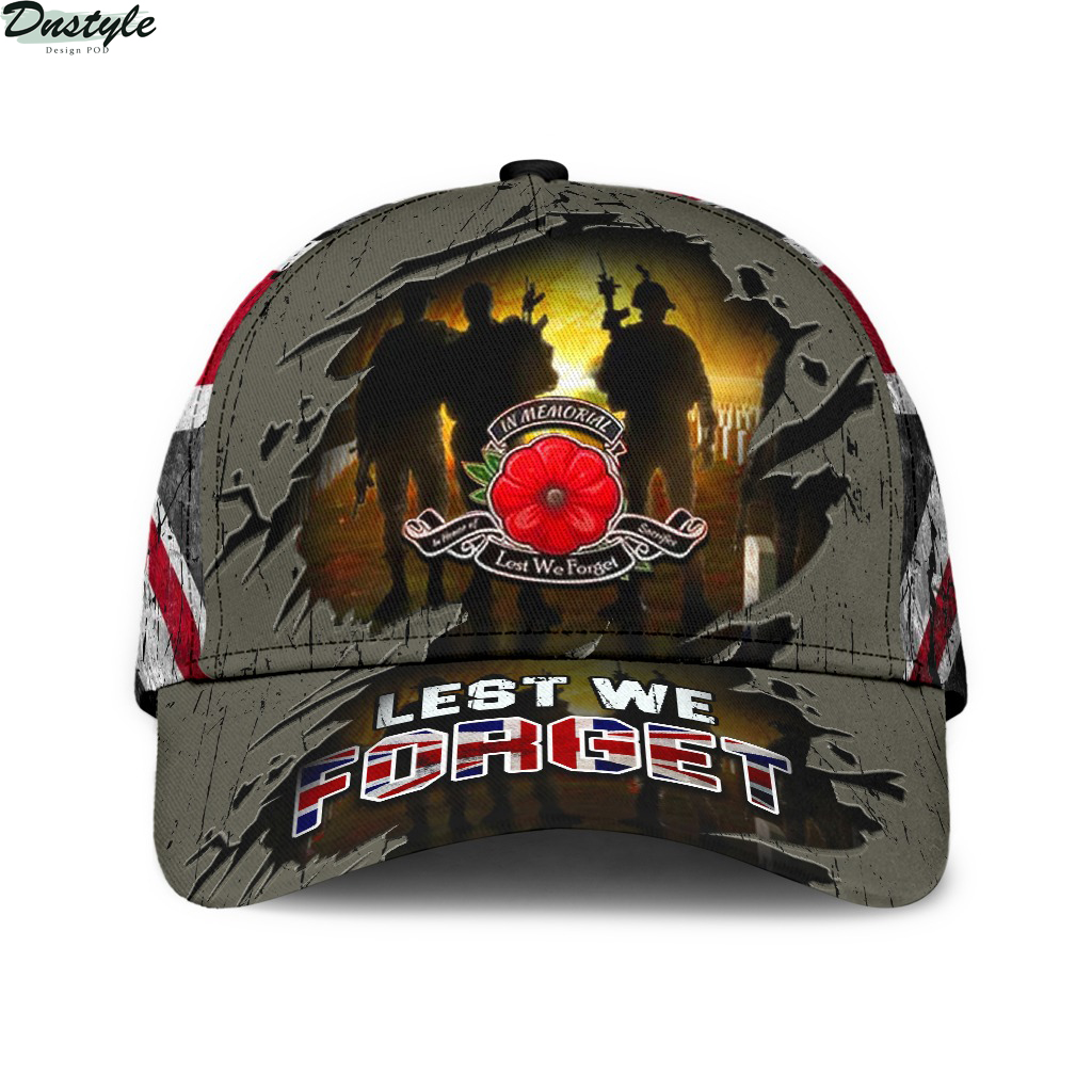 Lest We Forget Poppy Uk Flag Hat