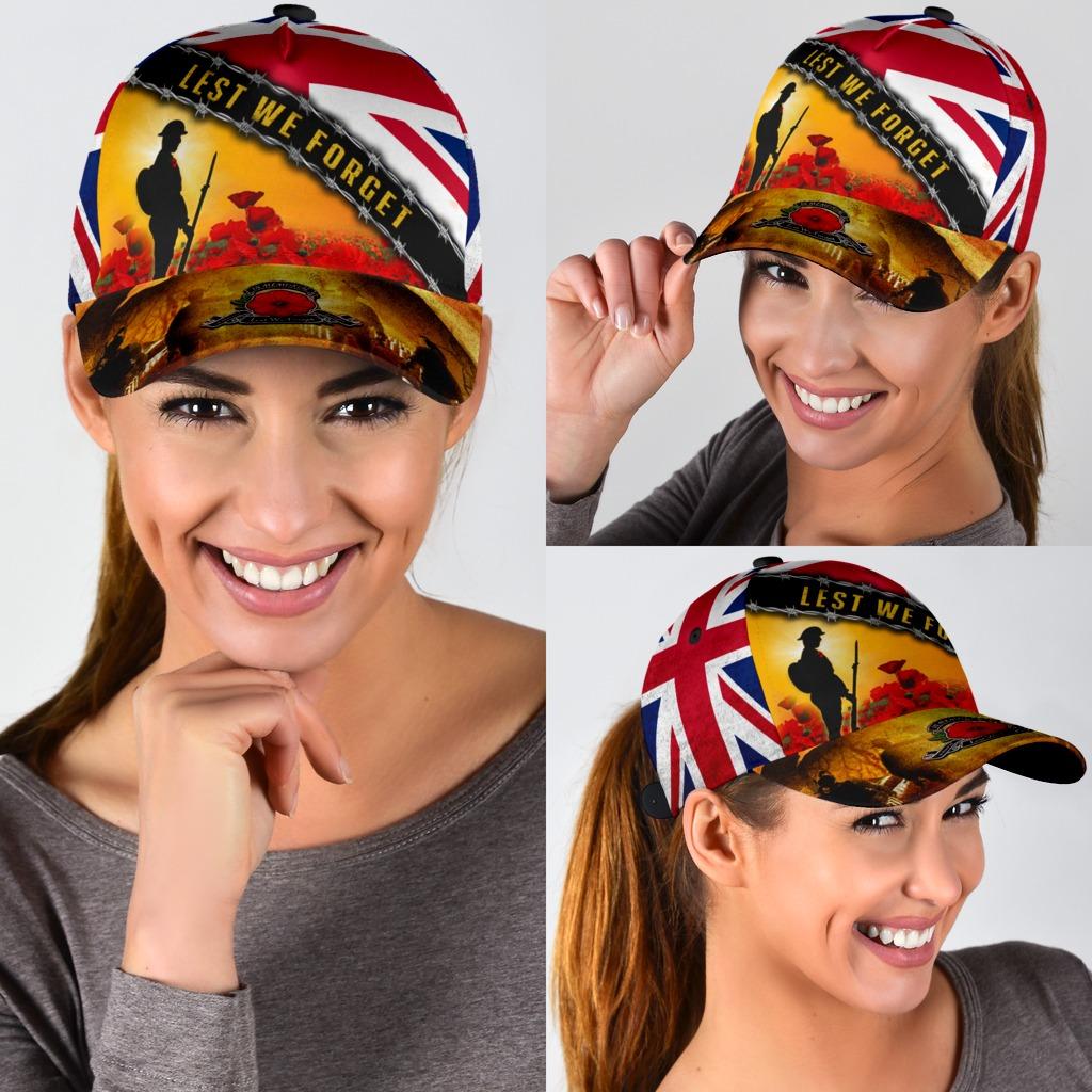 Lest We Forget Uk Flag Memorial England Veterans Day Hat 1