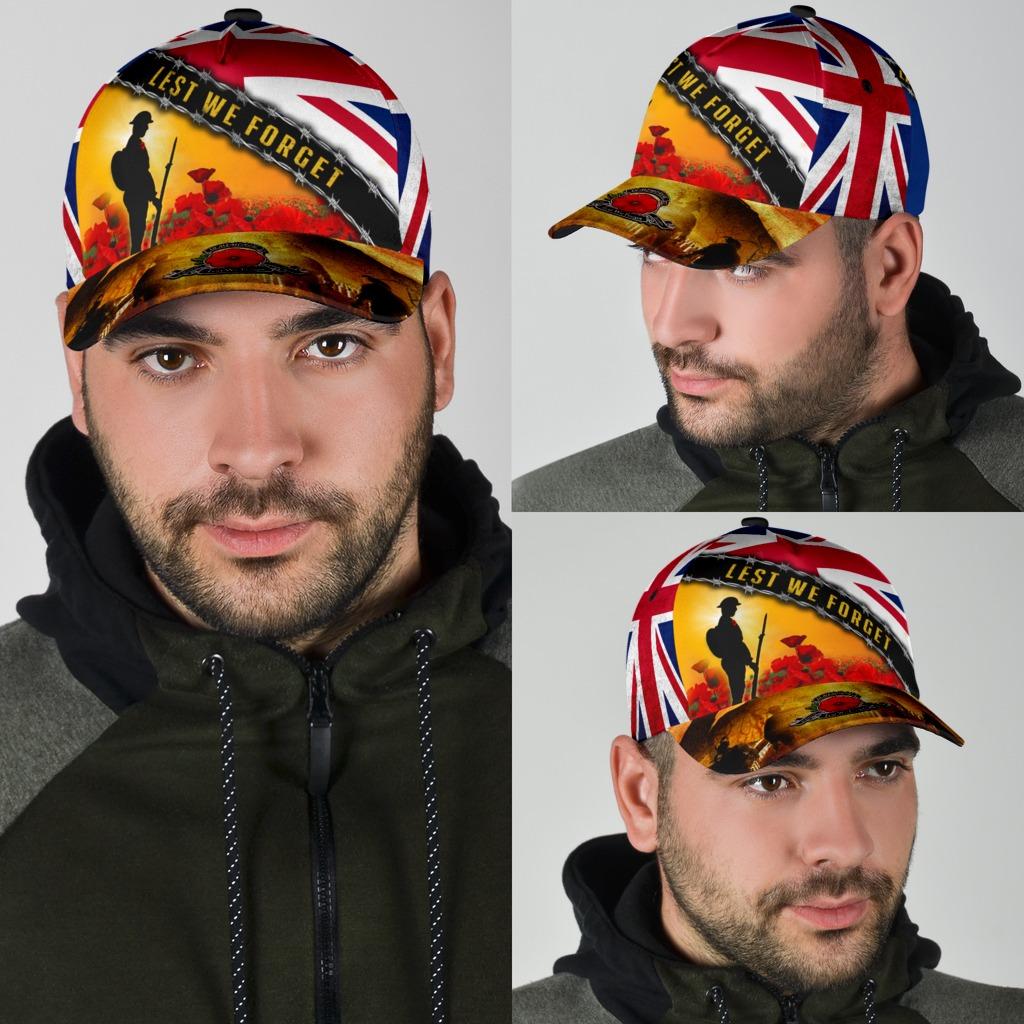 Lest We Forget Uk Flag Memorial England Veterans Day Hat 2