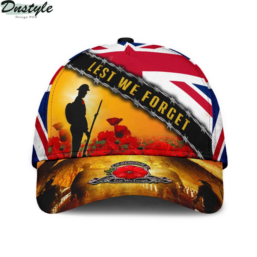 Lest We Forget Uk Flag Memorial England Veterans Day Hat