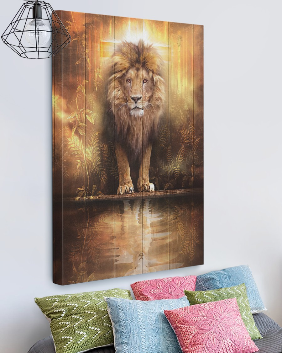 Lion and lamb water mirror reflection canvas 1