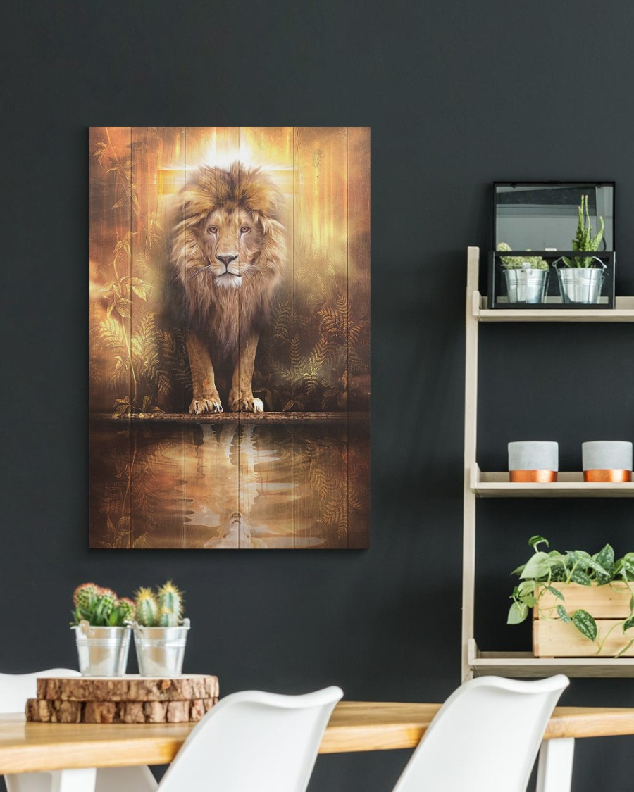 Lion and lamb water mirror reflection canvas 3