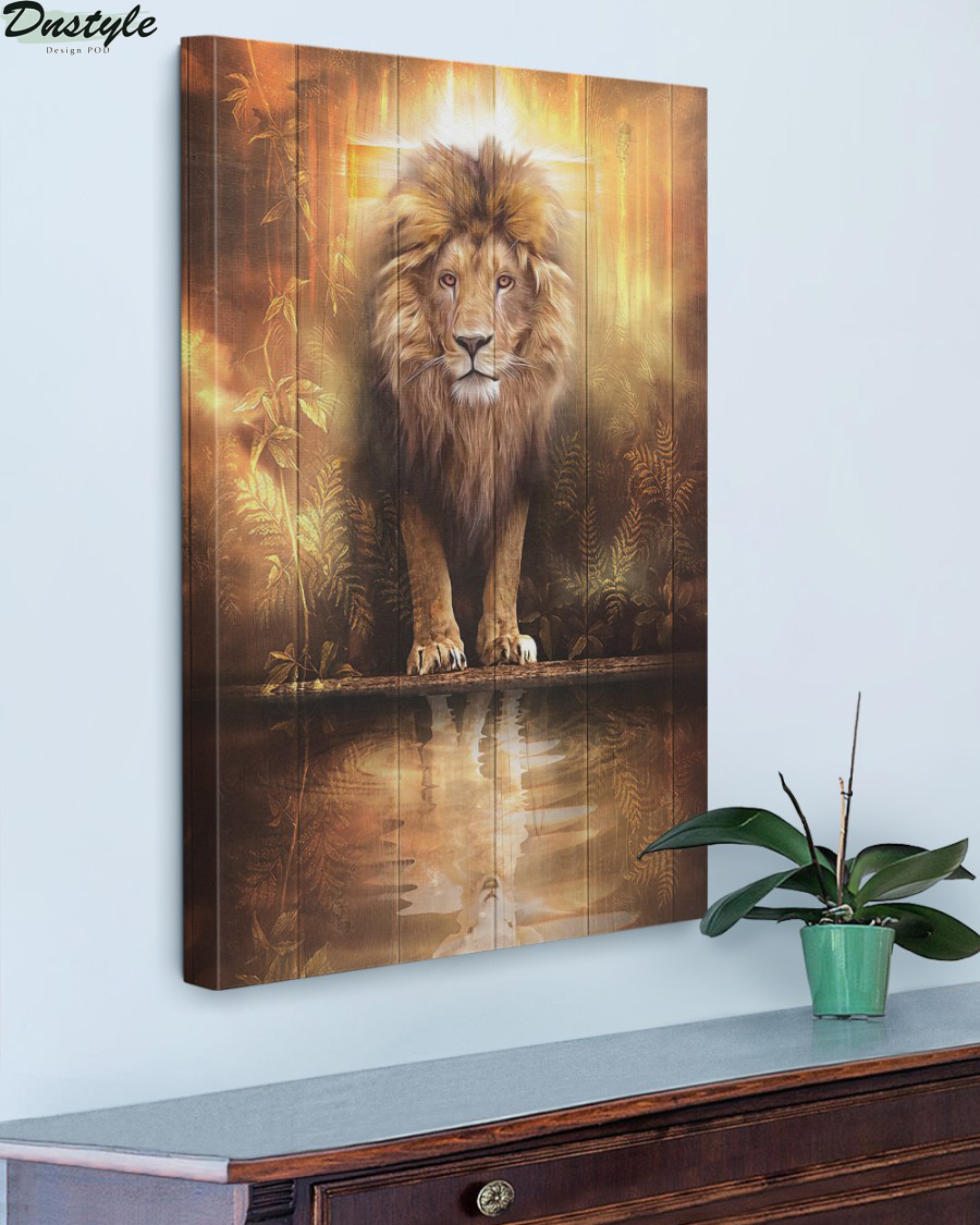 Lion and lamb water mirror reflection canvas
