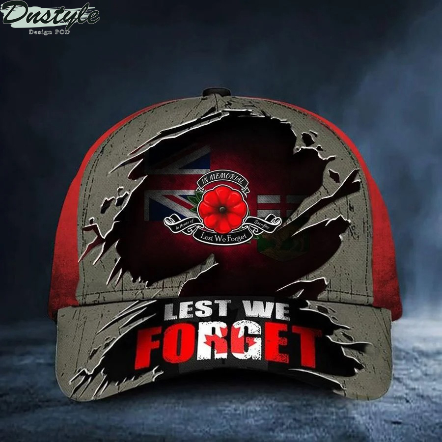 Manitoba Lest We Forget Poppy Canada Flag Remembrance Day Hat