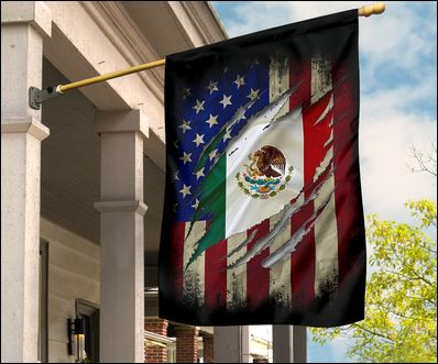Mexican and American flag