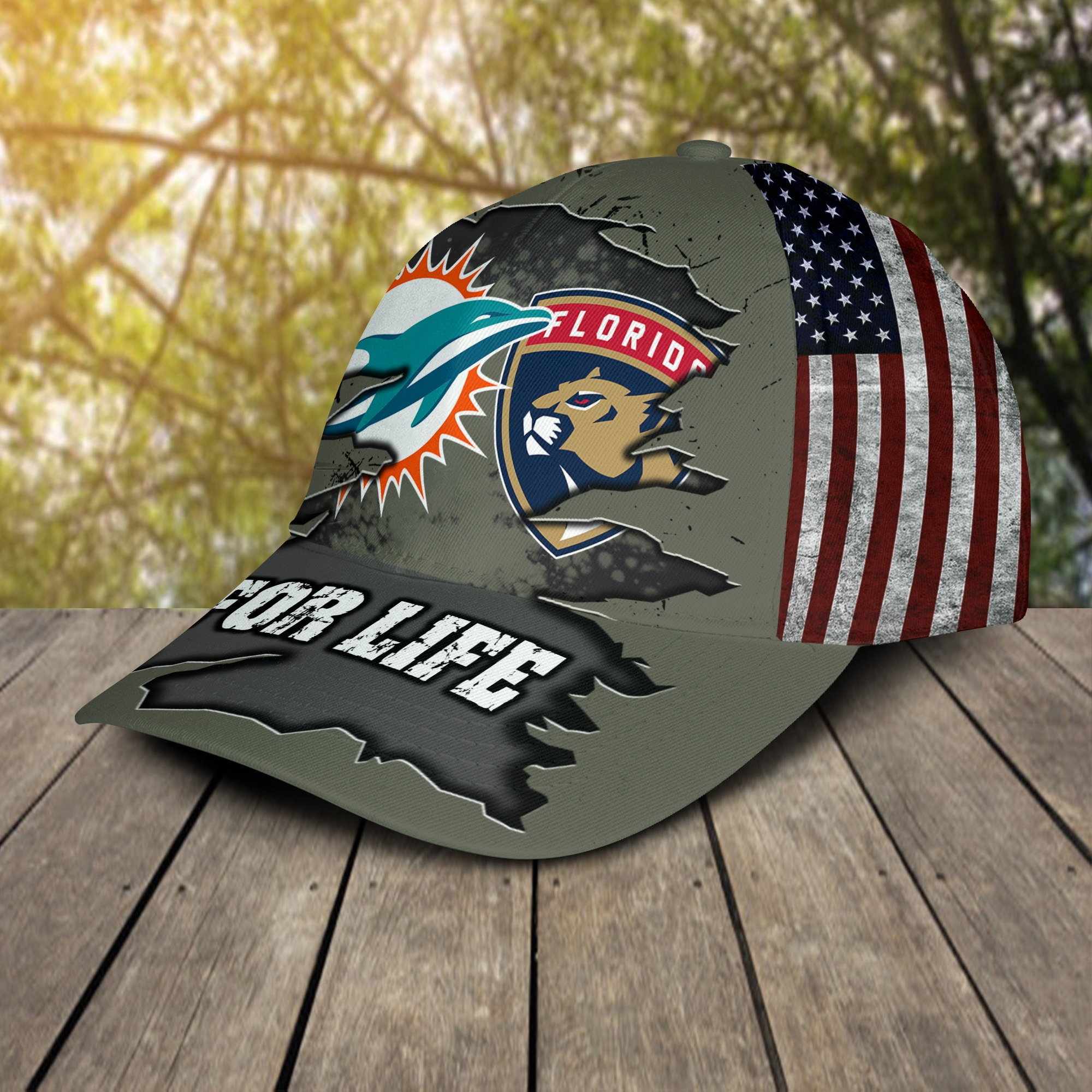 Miami Dolphins Florida Panthers For Life Cap 2