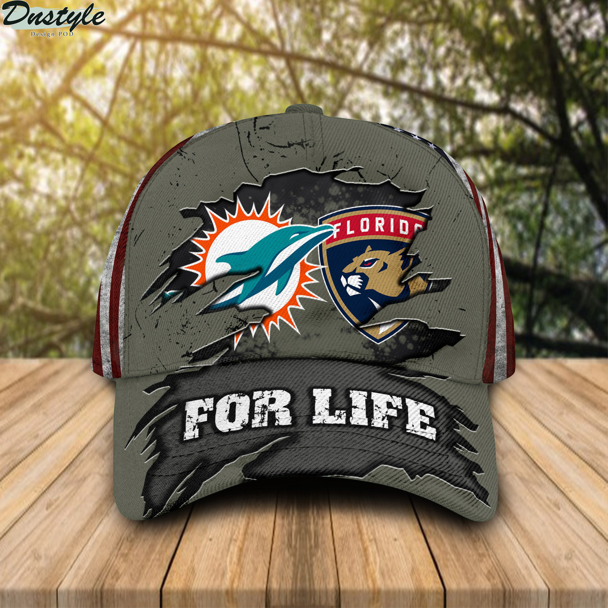 Miami Dolphins Florida Panthers For Life Cap