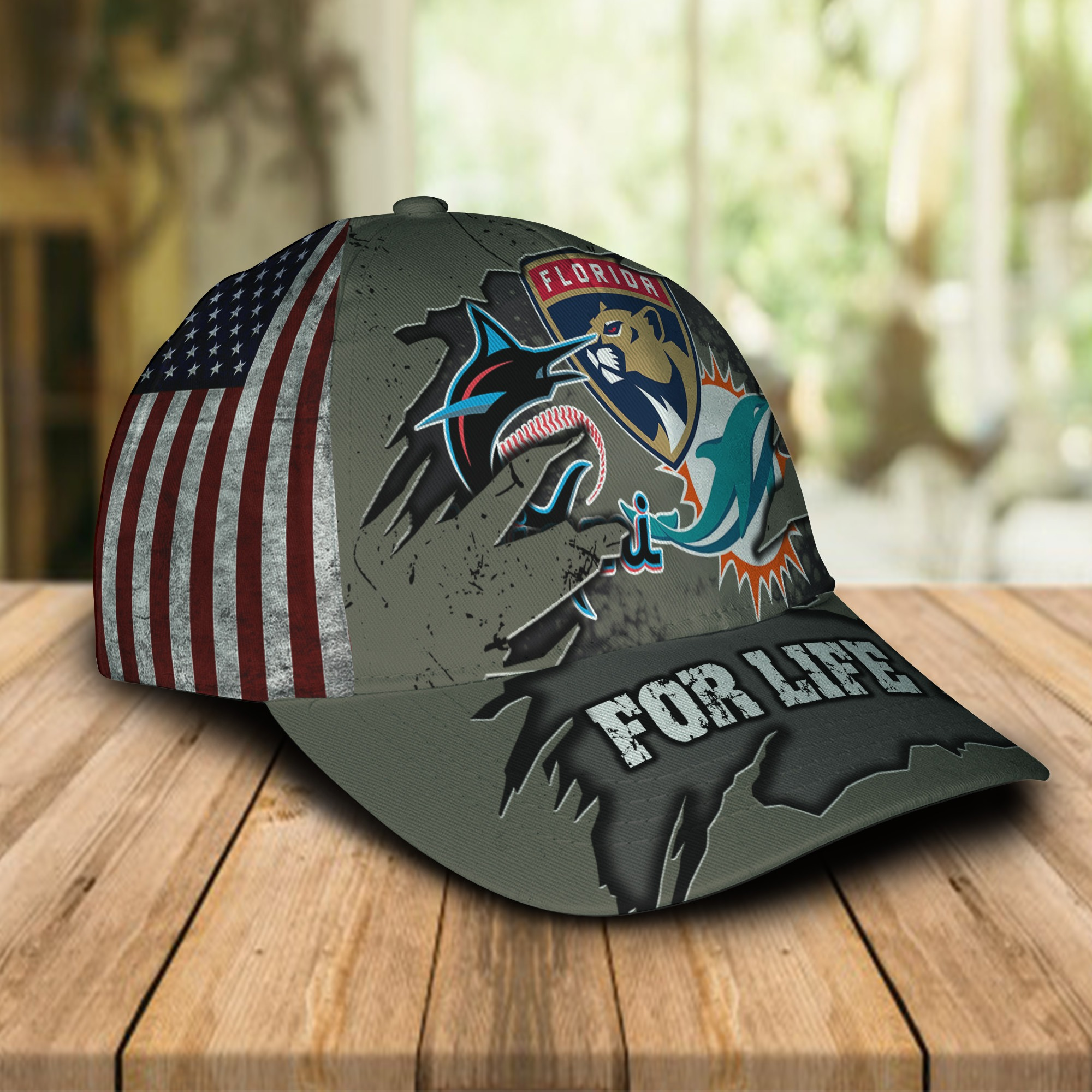 Miami Dolphins Miami Marlins Florida Panthers For Life Cap 1