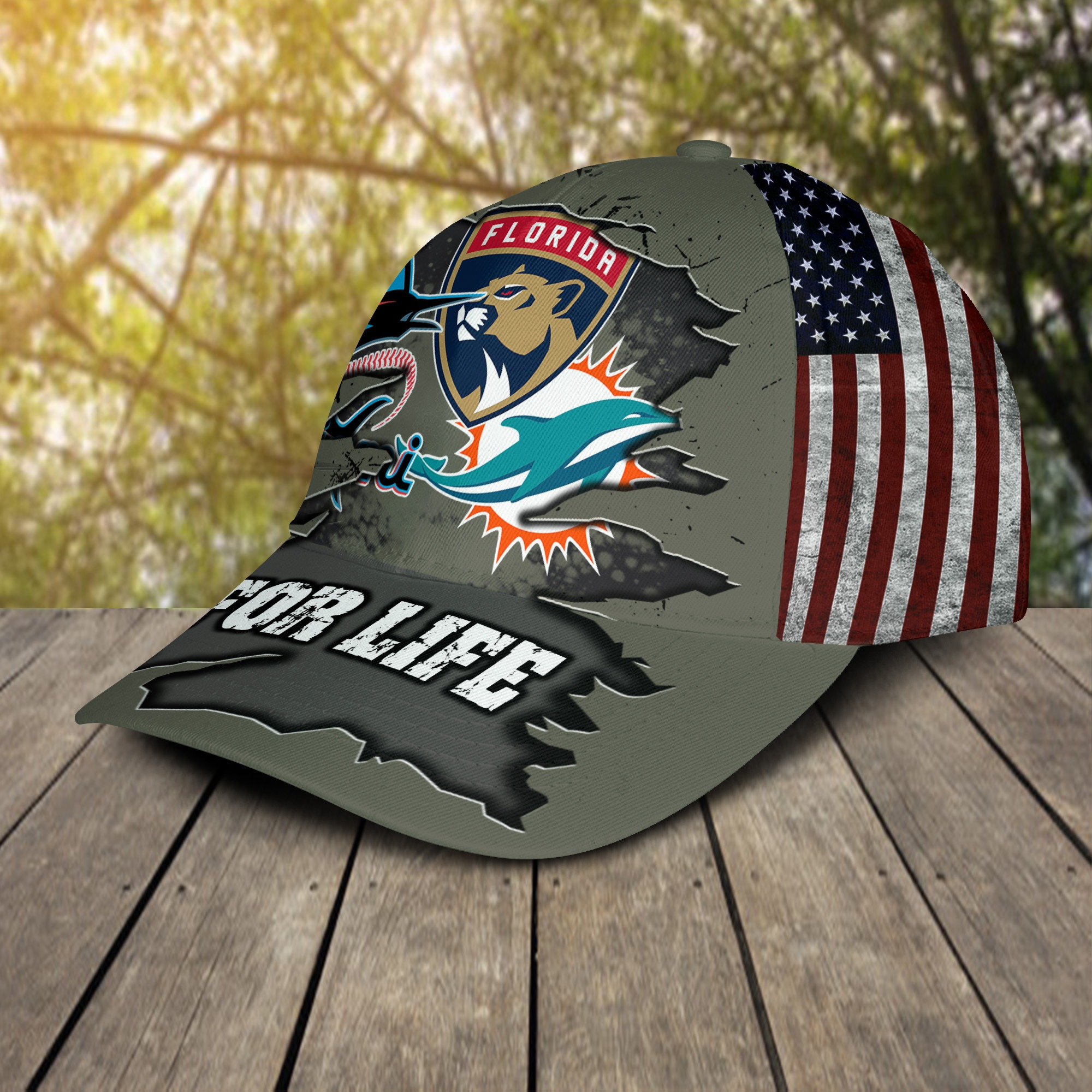 Miami Dolphins Miami Marlins Florida Panthers For Life Cap 2