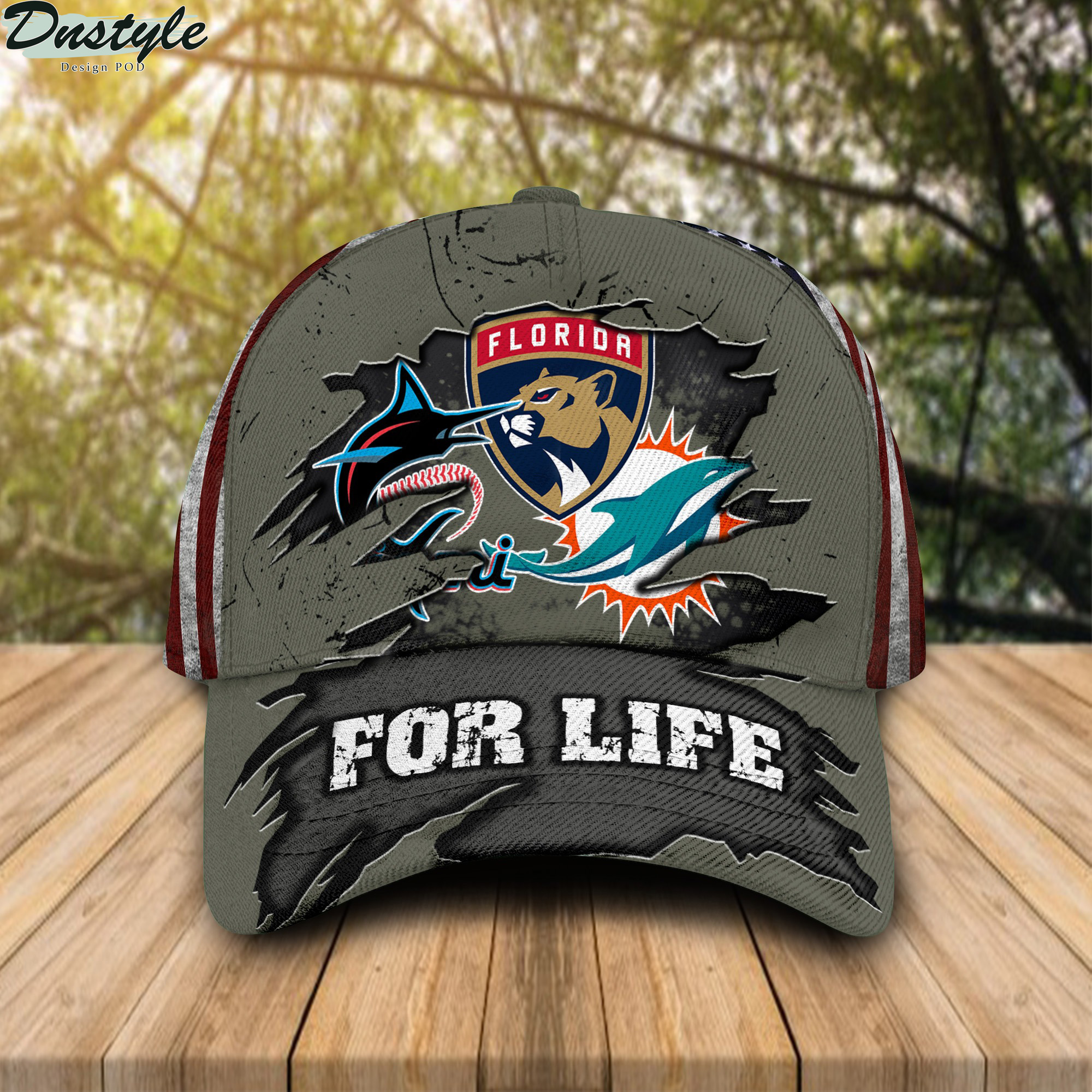 Miami Dolphins Miami Marlins Florida Panthers For Life Cap