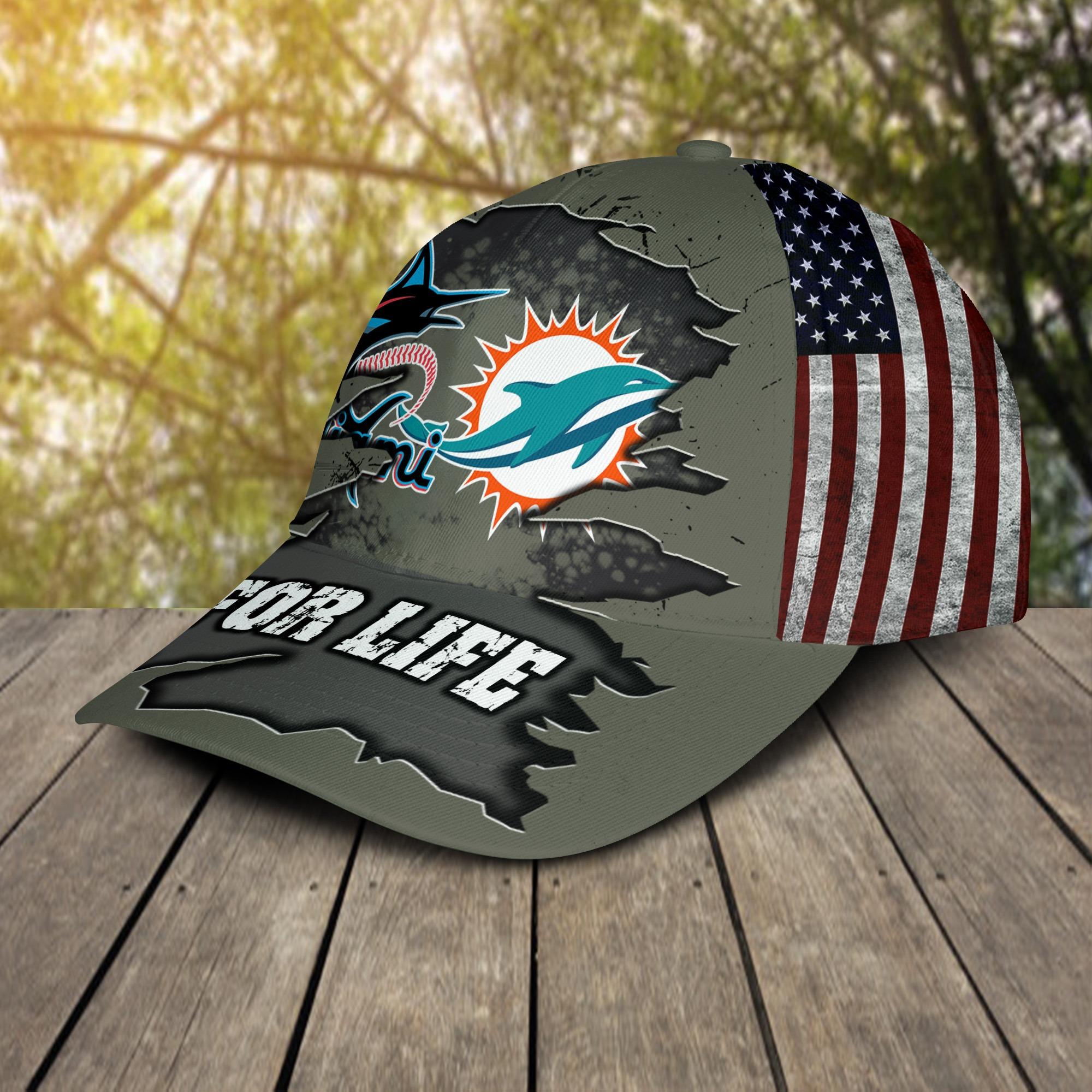 Miami Dolphins Miami Marlins For Life Cap 2