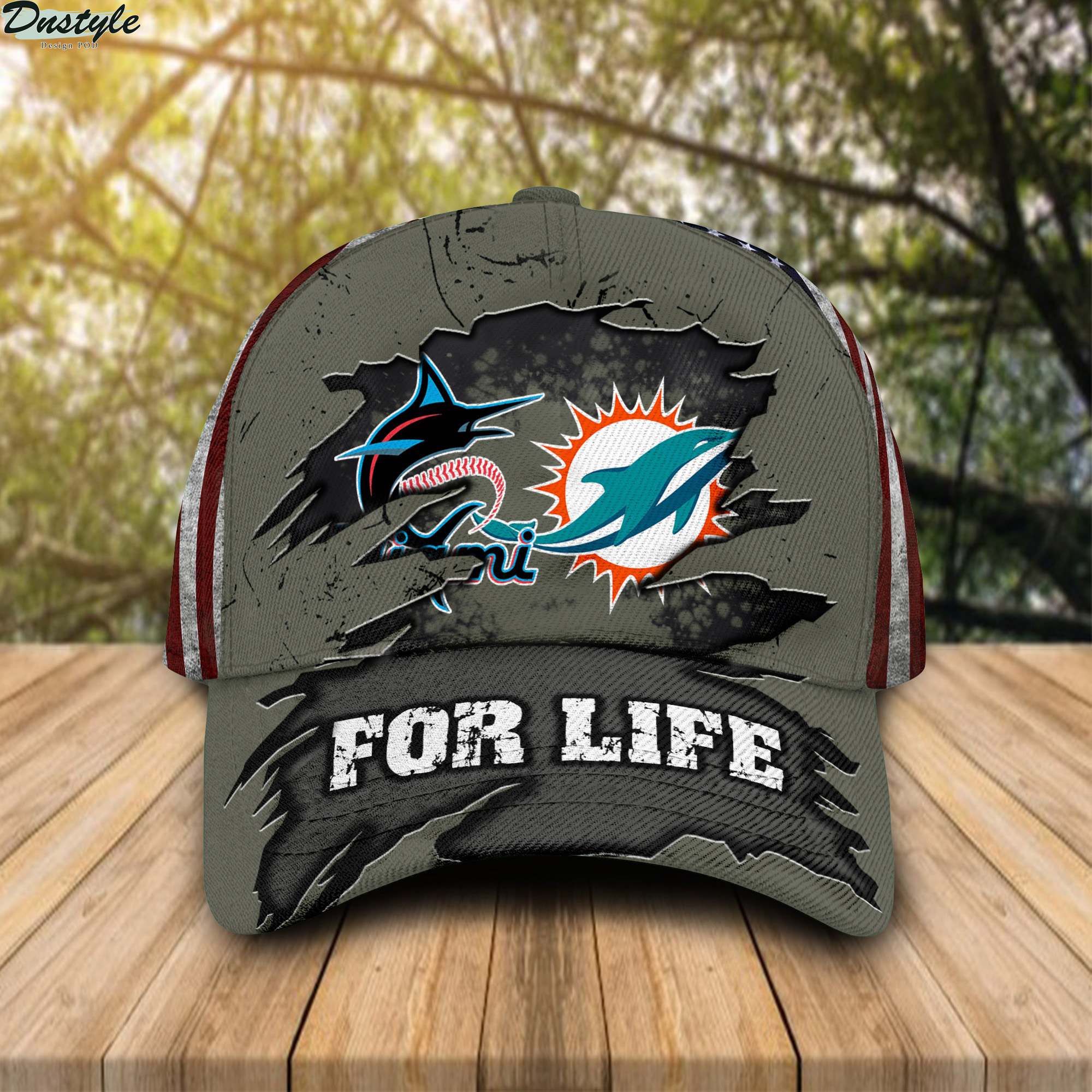 Miami Dolphins Miami Marlins For Life Cap