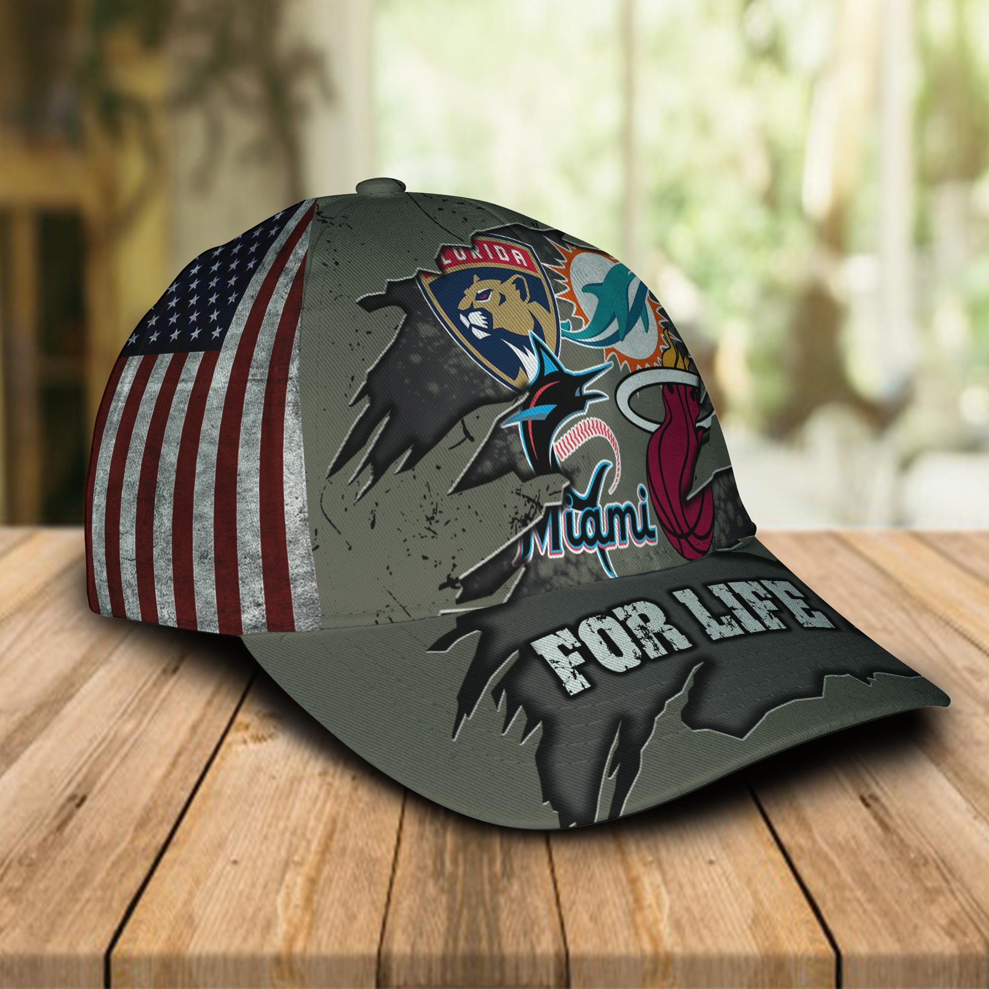 Miami Dolphins Miami Marlins Miami Heat Florida Panthers For Life Cap 1