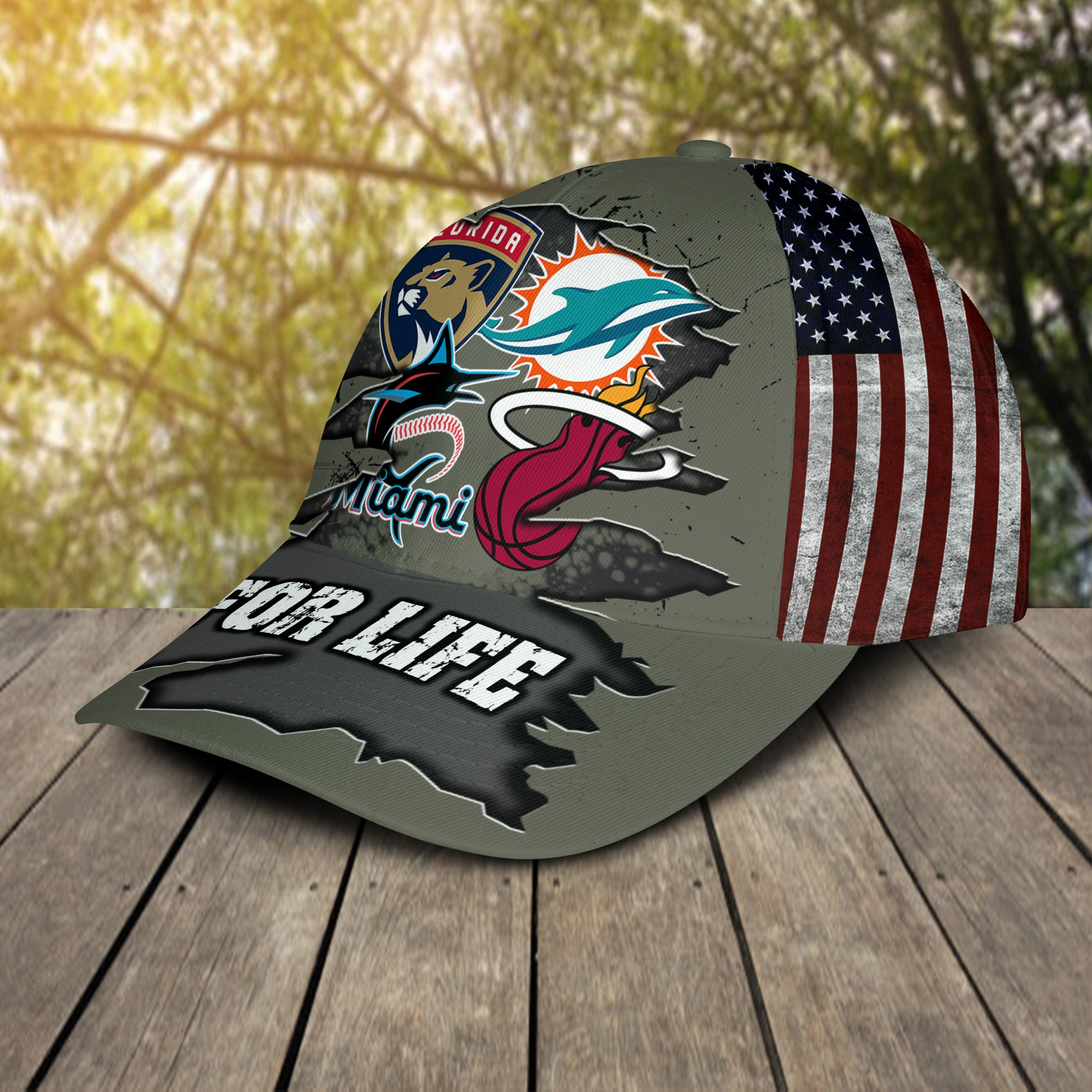 Miami Dolphins Miami Marlins Miami Heat Florida Panthers For Life Cap 2
