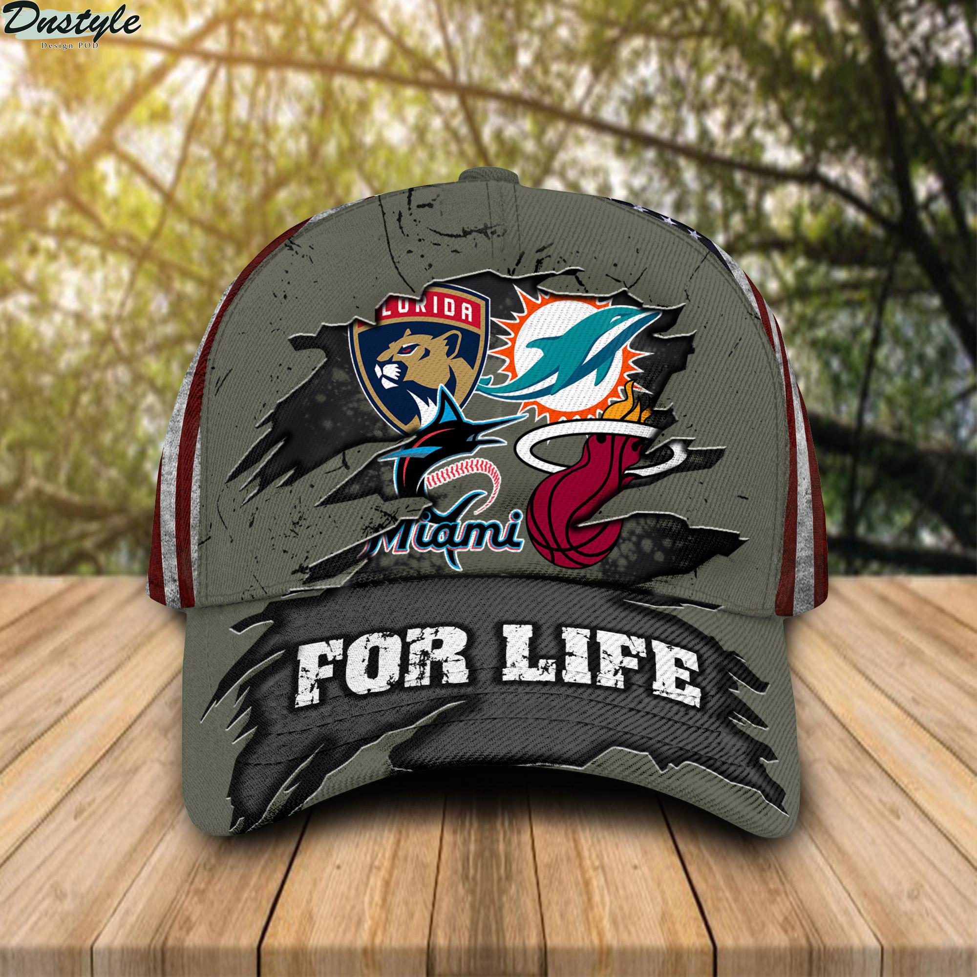 Miami Dolphins Miami Marlins Miami Heat Florida Panthers For Life Cap