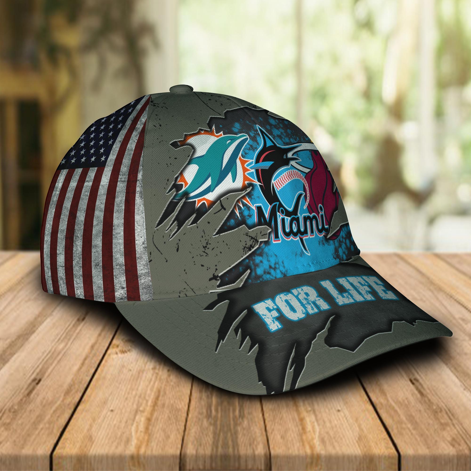 Miami Dolphins Miami Marlins Miami Heat For Life Cap 1