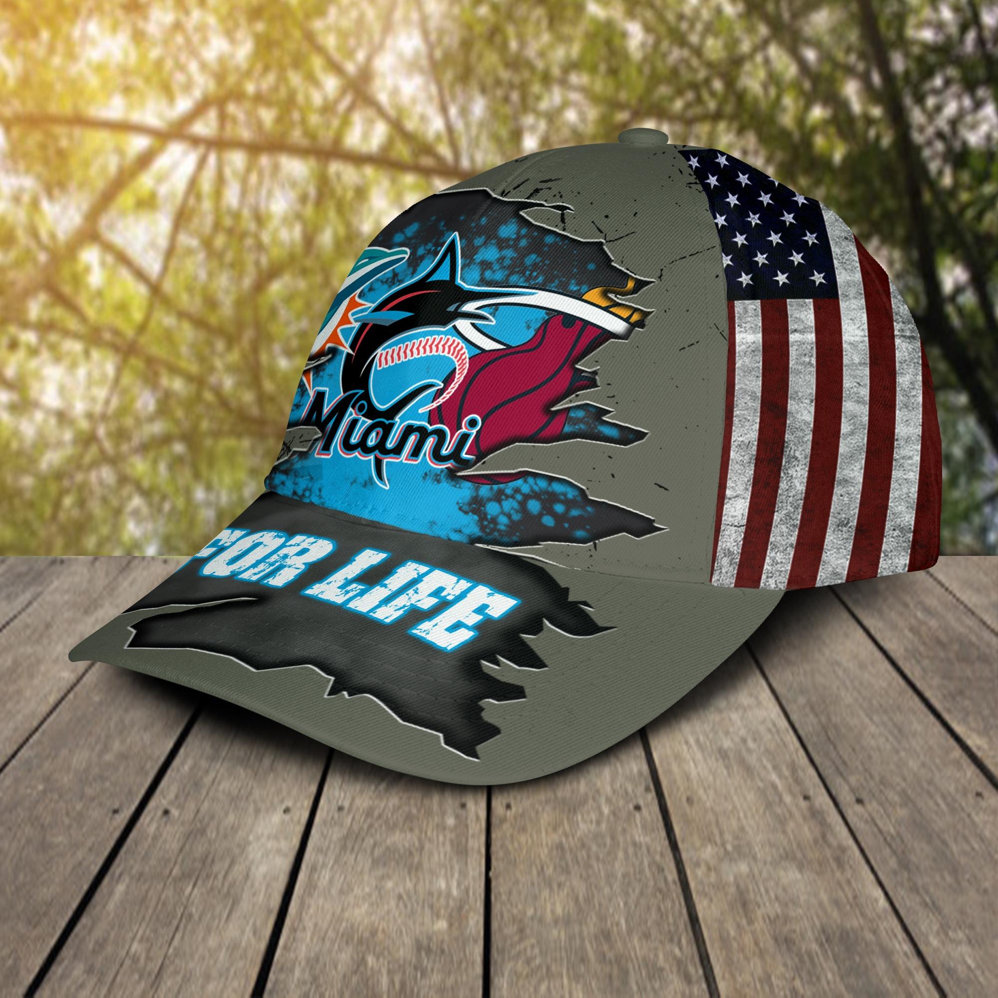 Miami Dolphins Miami Marlins Miami Heat For Life Cap 2