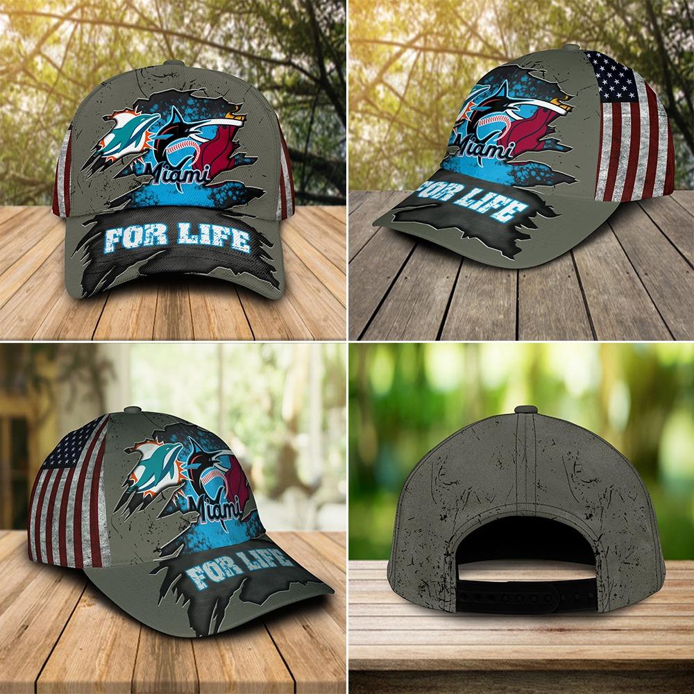 Miami Dolphins Miami Marlins Miami Heat For Life Cap 3