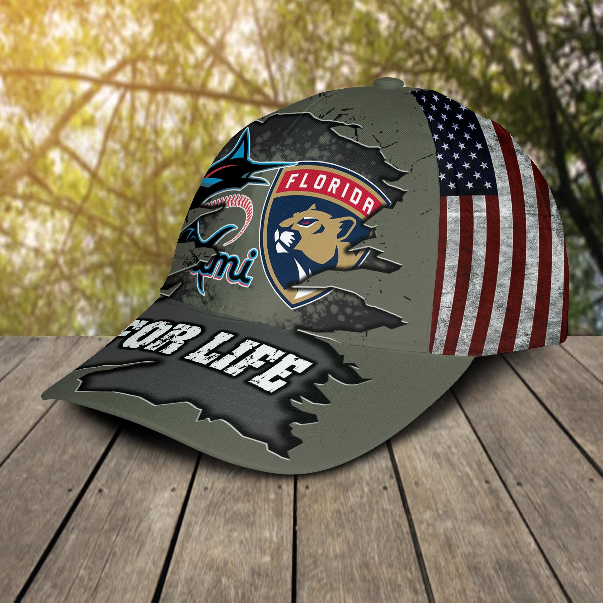 Miami Marlins Florida Panthers For Life Cap 2