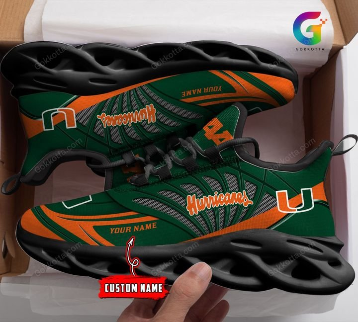 Miami hurricanes NCAA personalized max soul shoes 1