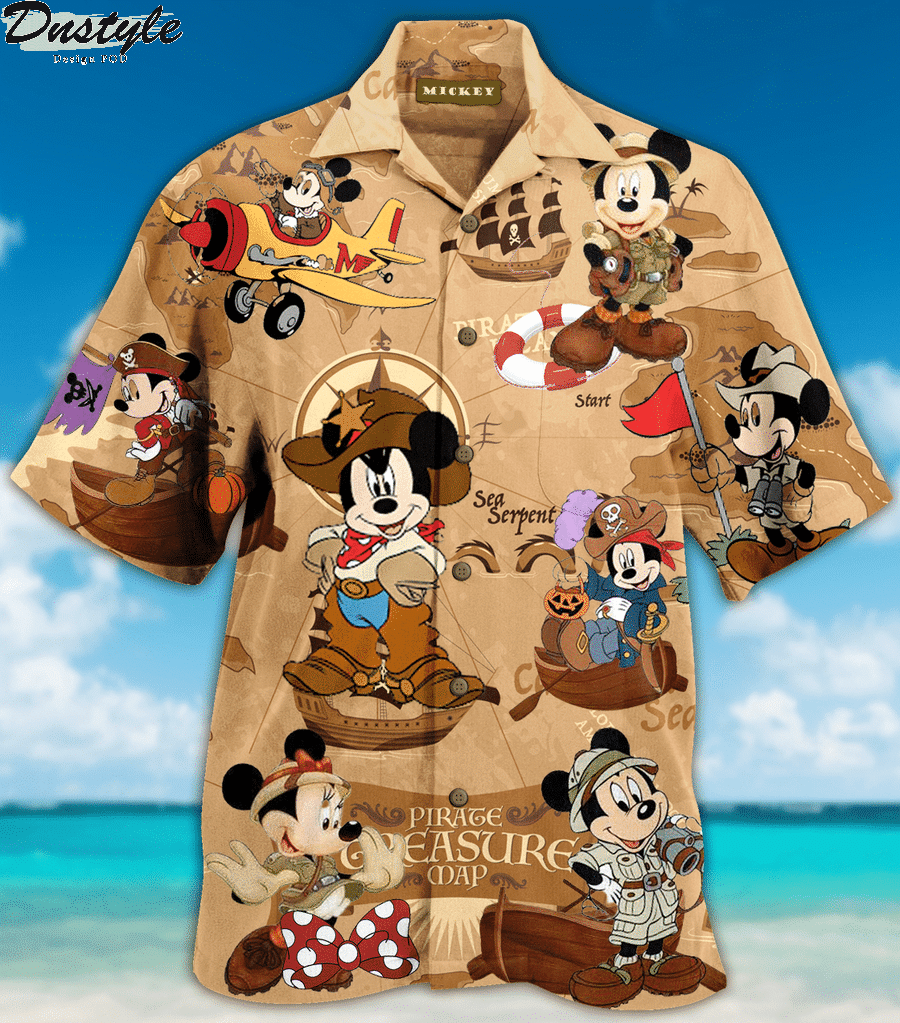 Mickey mouse pirate treasure map hawaiian shirt