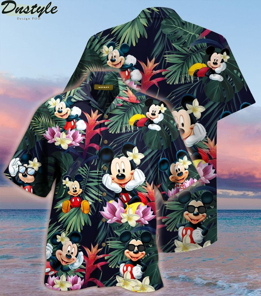 Mickey mouse summer button up hawaiian shirt