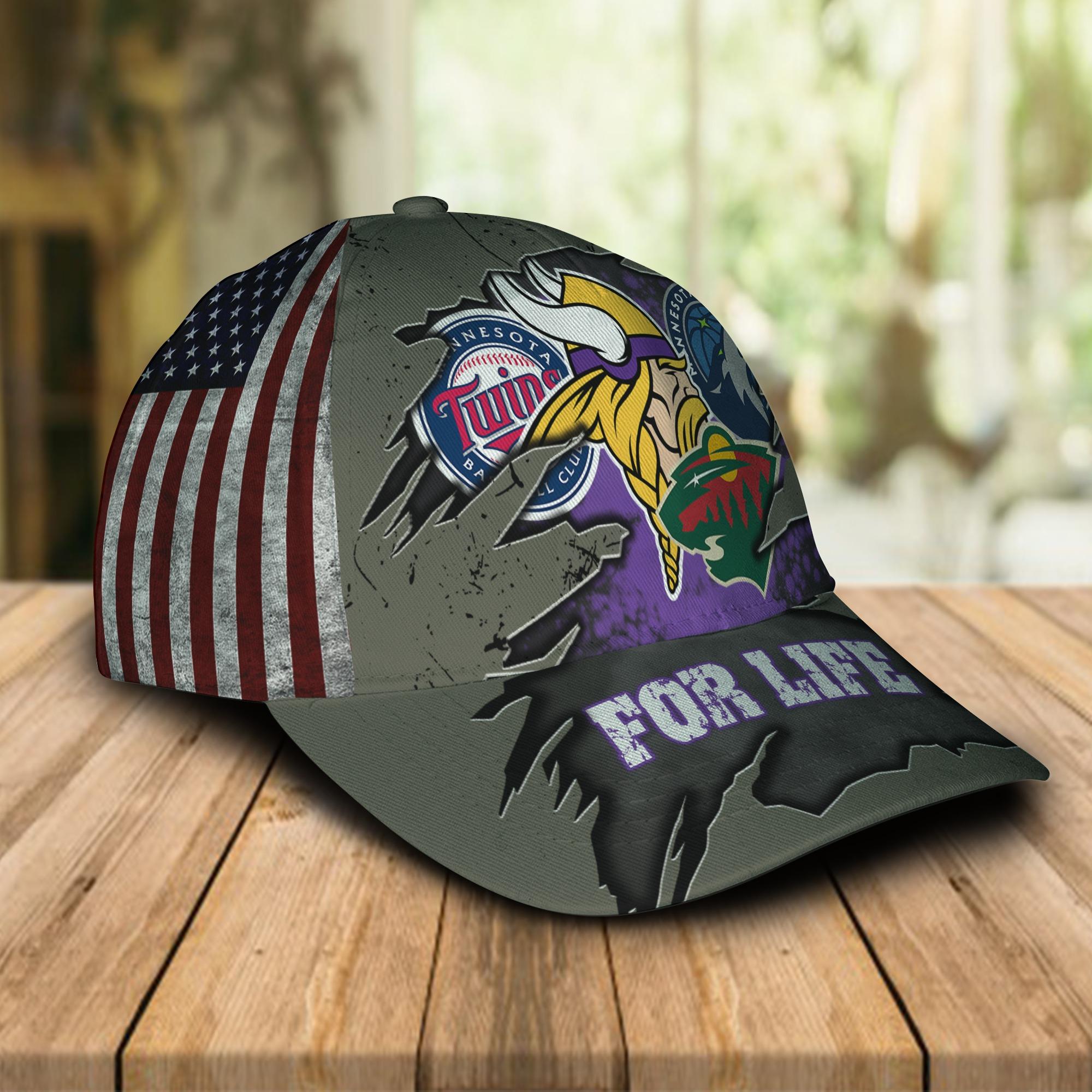 Minnesota Vikings Twins Timberwolves Wild For Life Cap 1