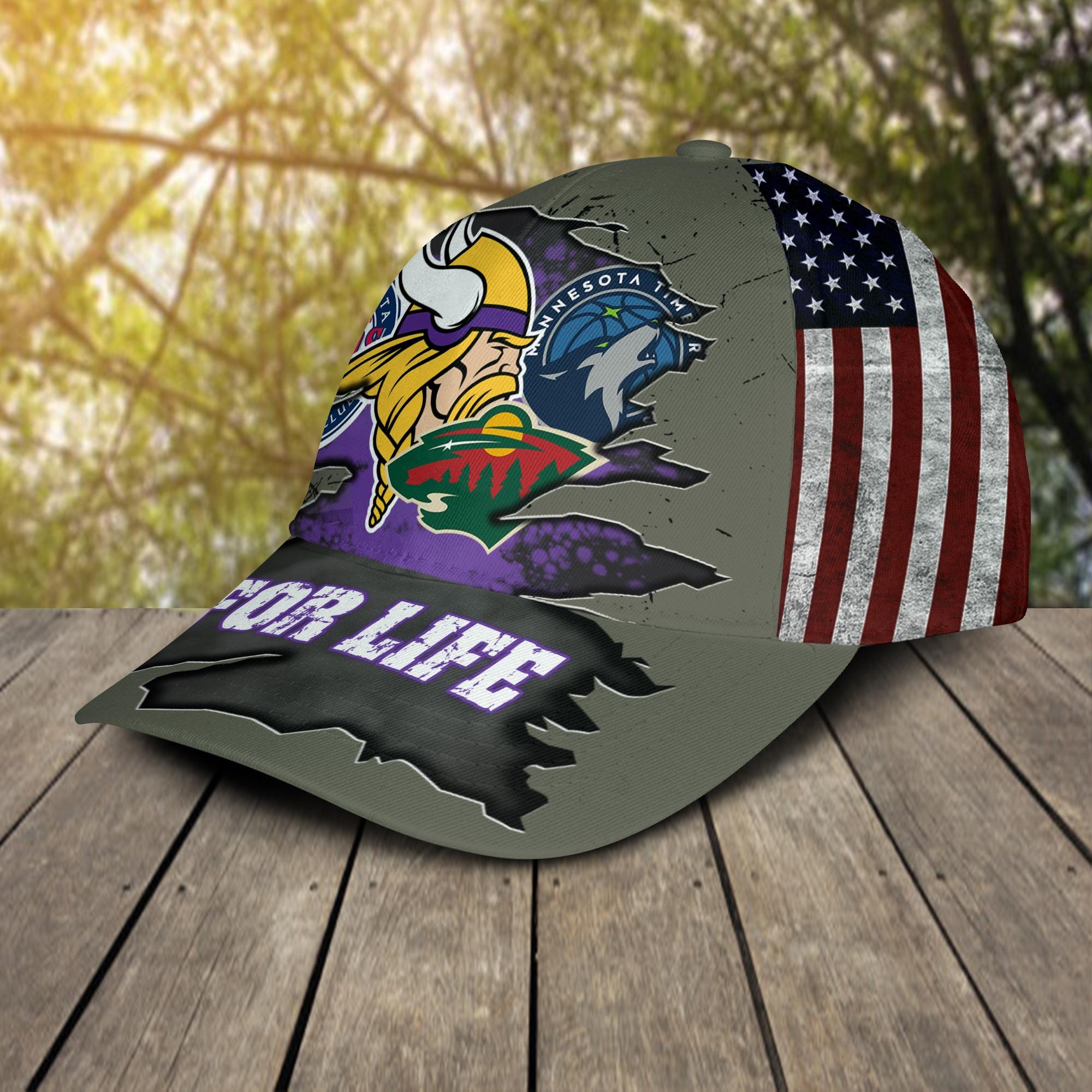 Minnesota Vikings Twins Timberwolves Wild For Life Cap 2
