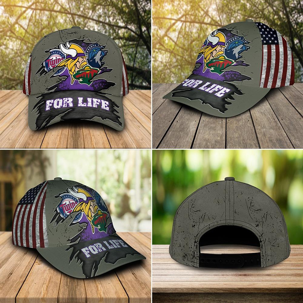 Minnesota Vikings Twins Timberwolves Wild For Life Cap 3